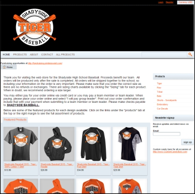 Fundraising web store for Shadyside Tigers baseball